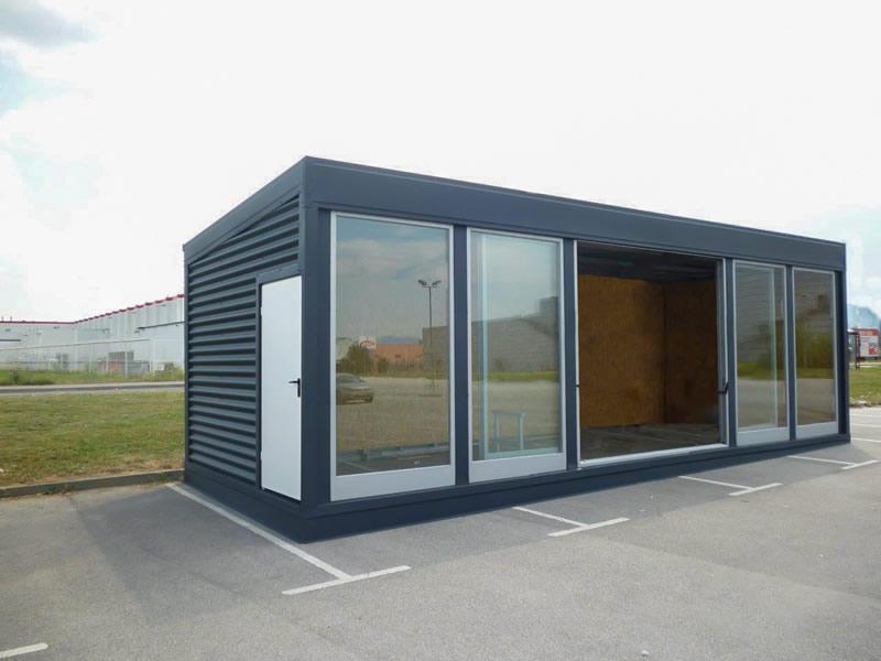 Container büro mit mehr glass