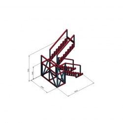 Stopnice 180° s podestom in ograjo